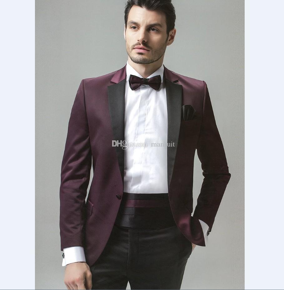 Custom Made Groomsmen Notch Groom Marié Tuxedos Burgundy Hommes Costumes Mariage / Prom Le Meilleur Homme Blazer / Époux (Veste + Pantalon + Nœud papillon) M397