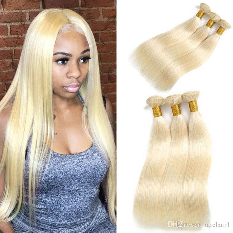 "Brazilian Hair Weave Bundles Straight Blonde Human Hair 613 Bundles Hair Extension Can Buy 3 Bundles Straight Remy Wefts 8""-26"""