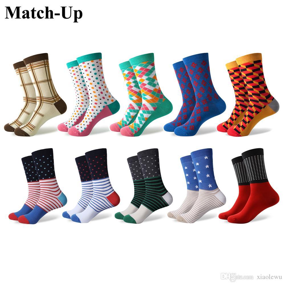 Match-Up erkekler renkli Serin Pamuklu Elbise çorap düğün çorabı (10 Çift / grup)