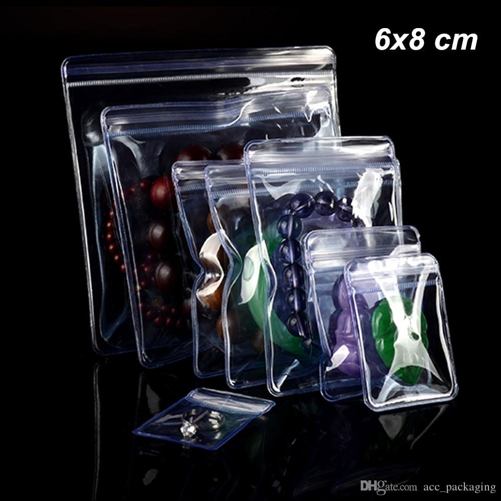 6x8 cm 100 Pack Clear PCV Anti-utlenianie zamek błyskawiczny Wyświetlacz biżuteria Wyświetlacz Wyświetlacz Buberry Poli Plastikowe Torby do Perły Jade