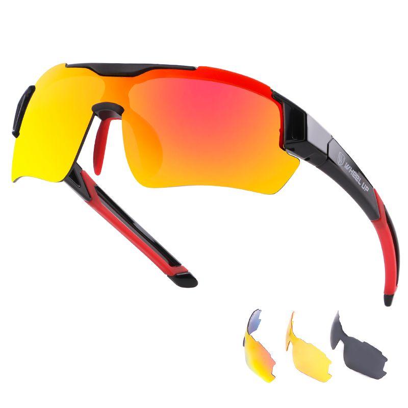 RockBros Polarized Cycling Glasses Goggles Full Frame Bike Sunglasses Orange