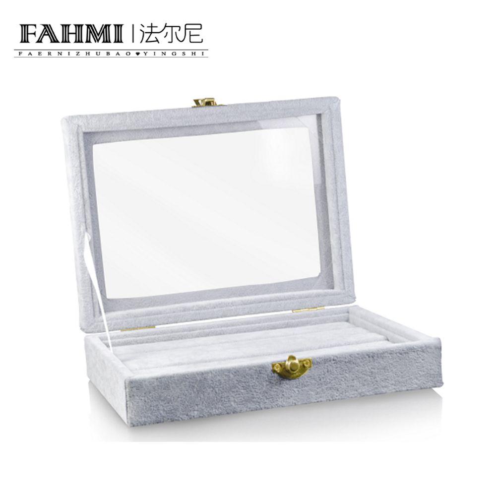 FAHMI Original Anneau De Mode Transparent Gris Boîte D'affichage Bijoux Protection Cadeau Mode Simple Exquis Affichage Boîte Usine