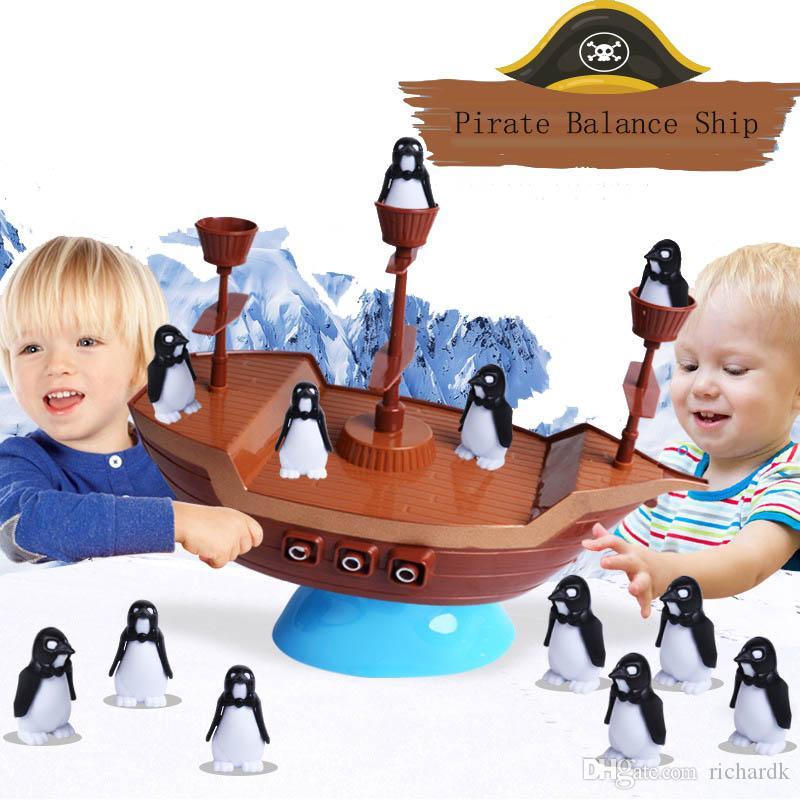 어린이 교육 완구 펭귄 해적선 균형 가족 부모 - 자녀 상호 작용 아동 어린이를위한 데스크탑 게임 선물