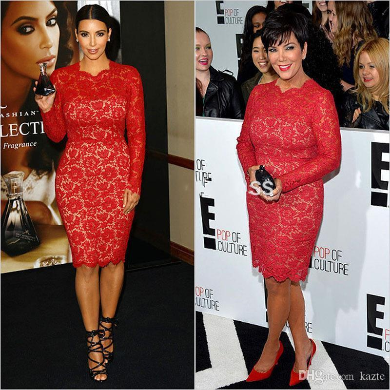 2018 Sexy Kim Kardashian Cocktail Dresses Red Lace Sheath Celebrity Gowns Long Sleeves Knee Length Prom Party Dress