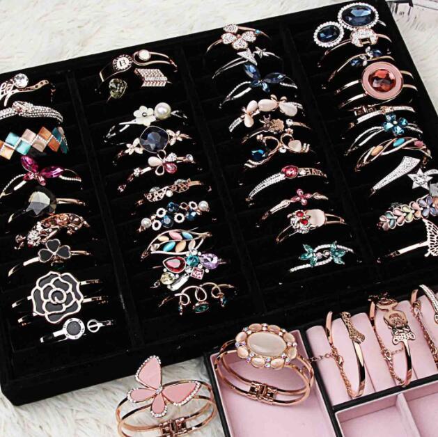 mescolare 10 stile 10pcs placcato oro argento delicato gemma di cristallo di lusso perla opale braccialetto braccialetto ragazza / signora braccialetto corpo dura