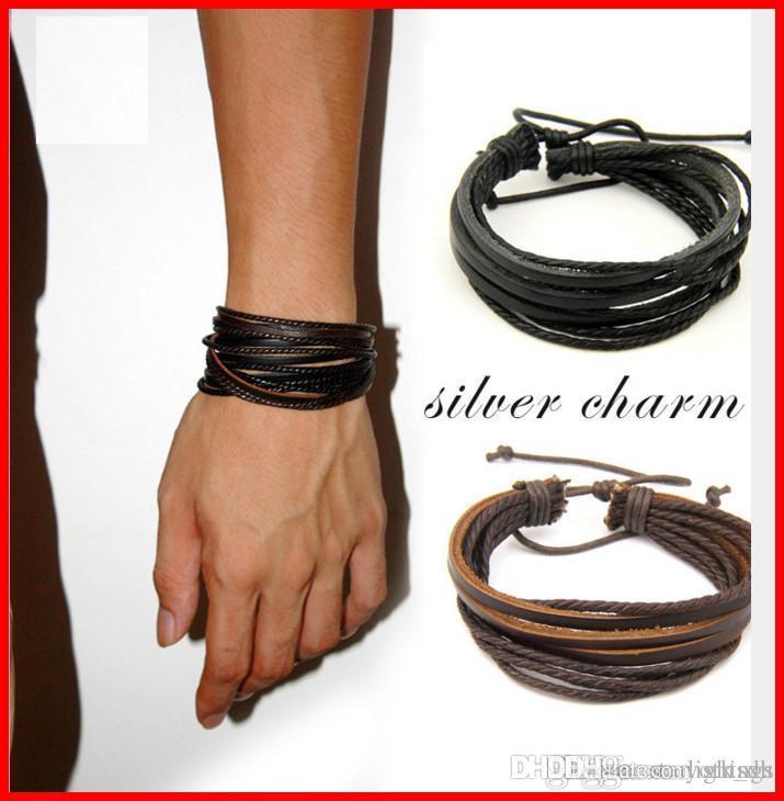 Pulsera de cuero Hombres Mujeres Cuerda de cuero trenzado Pulseras de pulsera de cuero real Negro y marrón joyería vintage acc237
