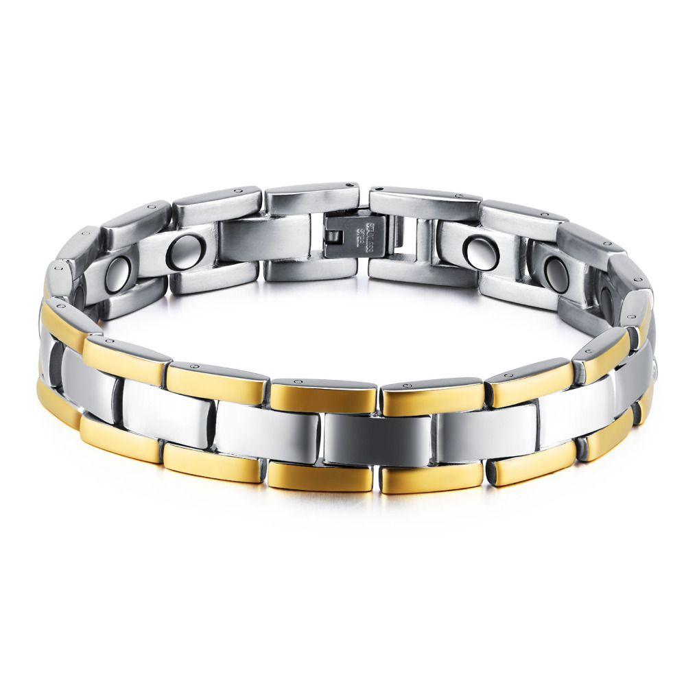Moda pulsera sana magnética Hombres dos tonos color de la raya del oro cadena de acoplamiento del encanto del acero inoxidable del punk Energía GS874 joyería