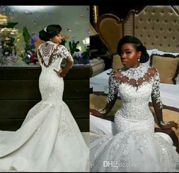 2018 alti collo sirena abiti da sposa pizzo appliqued perla cristallo treno lungo illusione maniche africano abito da sposa abito da sposa vestido de novia