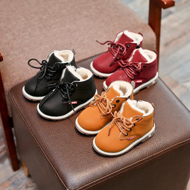 Novas inverno para crianças das meninas do miúdo dos meninos neve Botas Comfort Grosso Antislip Curto Botas Moda algodão acolchoado sapatos
