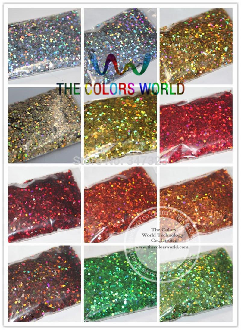 24 couleurs holographiques de laser paillettes de 2 millimètres de millimètre pour la décoration d'ongle et la décoration de DIY