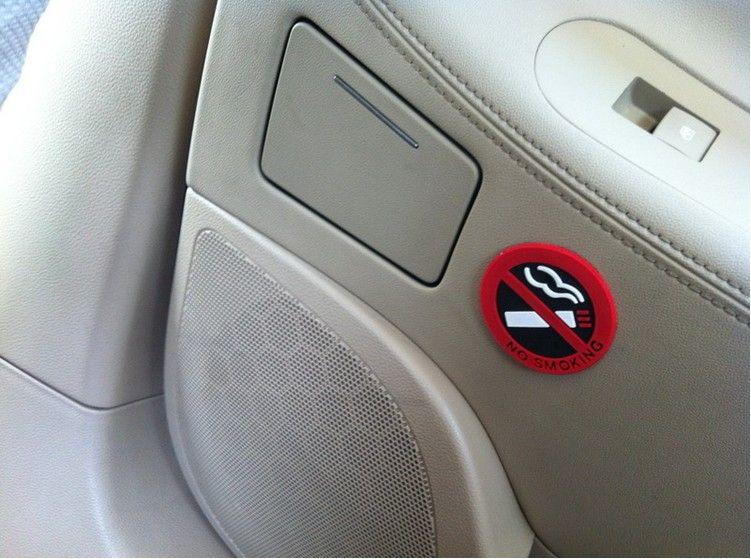 10PCS 경고 스티커 자동차 핫 자동차 스타일링에 서명 금연 로고 고무 라텍스 3D 스티커 공공 장소 홈 자동차 장식