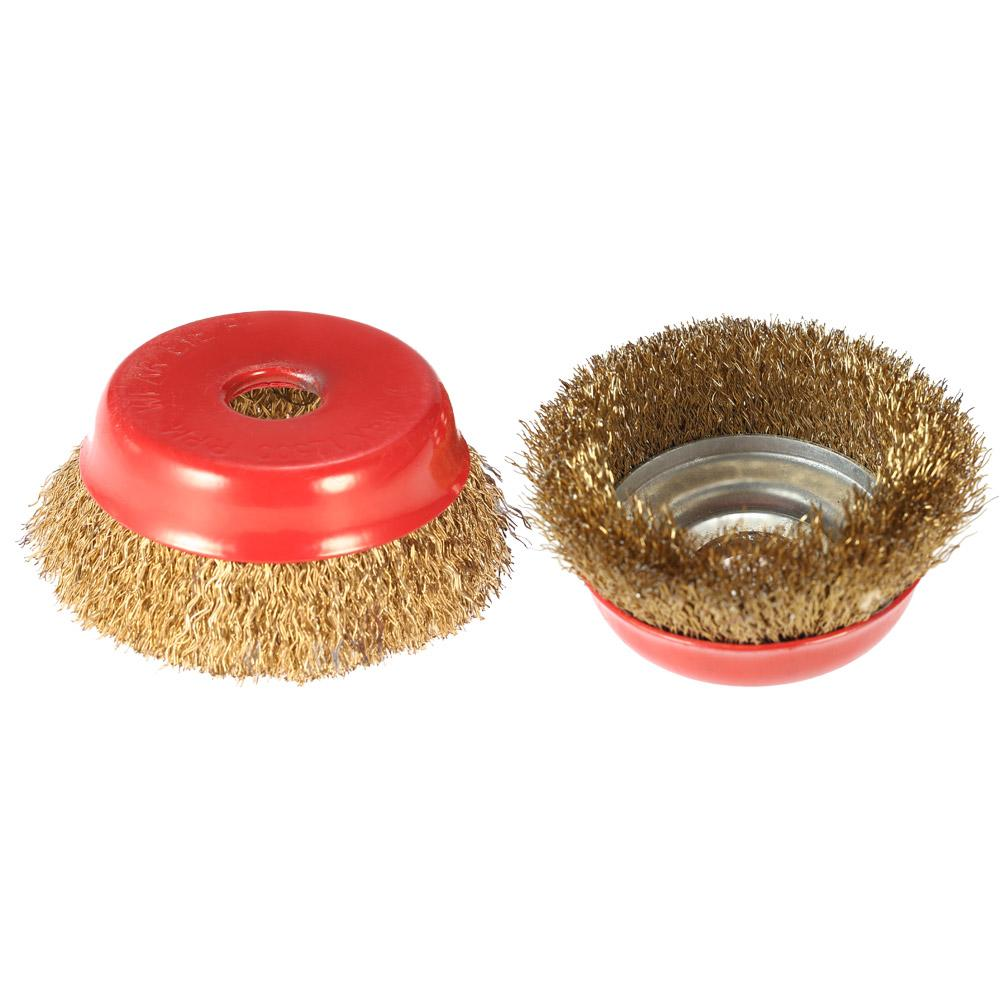 """Freeshipping 2Pcs/lot 75mm 3"""" Steel Wire Wheel Fine Crimp Cup Wheel Brush Rotary Steel Wire Brush For Angle Grinder"""
