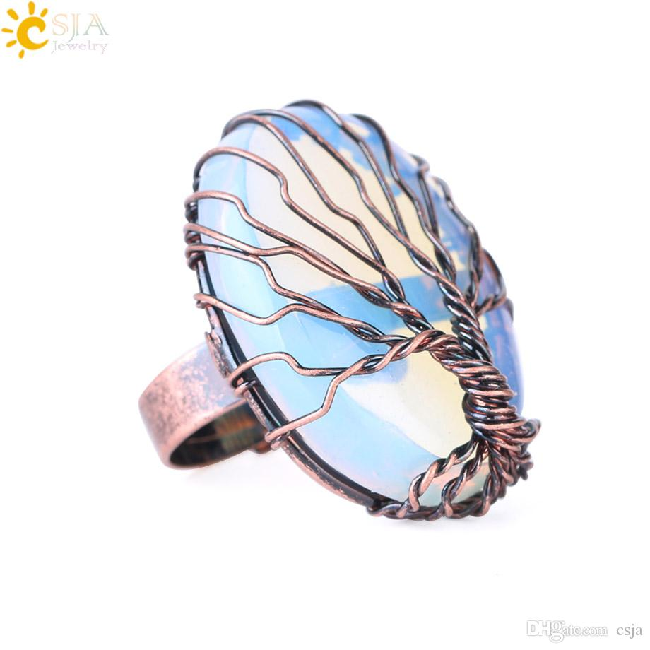 CSJA Antique Copper Rings for Women Vintage Finger Jewelry Egg Shape Natural Stone Bead Wire Wrapped Tree of Life Adjustable Party Ring F391
