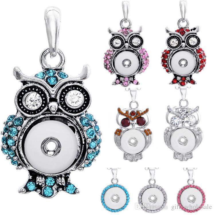 Free Shipping wholesale 2020 newest rhinestones SNAP chunks necklace owl pendent buttons owl round necklaces pendant charms