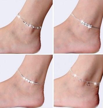 50 adet / grup Ayak Takı Halhal Sıcak Satış Gümüş Halhal Link Zinciri Kadınlar Için Kız Ayak Bilezik Moda Takı Toptan Ücretsiz Kargo