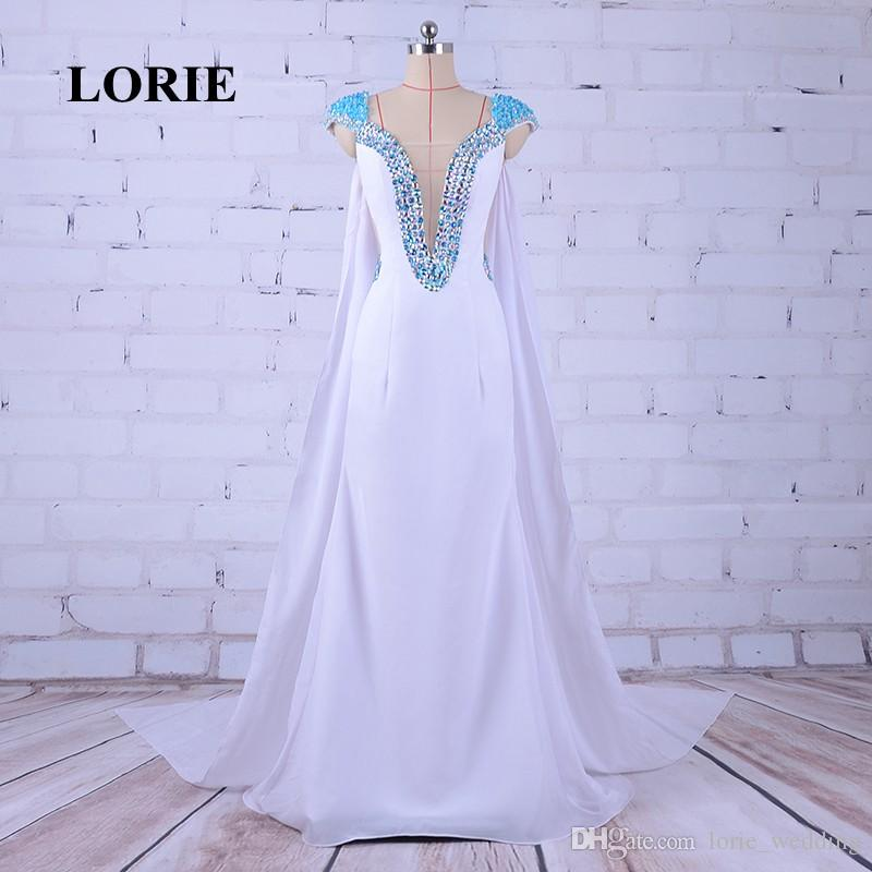LORIE Abendkleider Deep V Neck Mermaid Elegant White Prom Dress Beaded Rhinestones Evening Dresses Pageant Dresses for Women