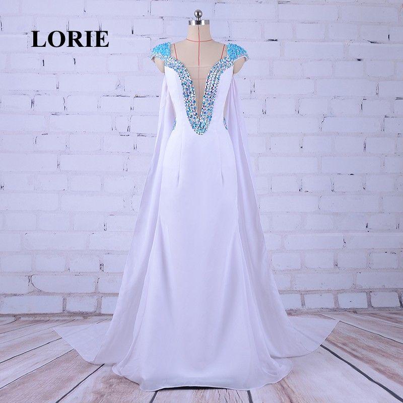 LORIE Abendkleider Deep V Neck Mermaid Elegante blanco vestido de fiesta con pedrería Rhinestones vestidos de noche Vestidos del desfile para las mujeres