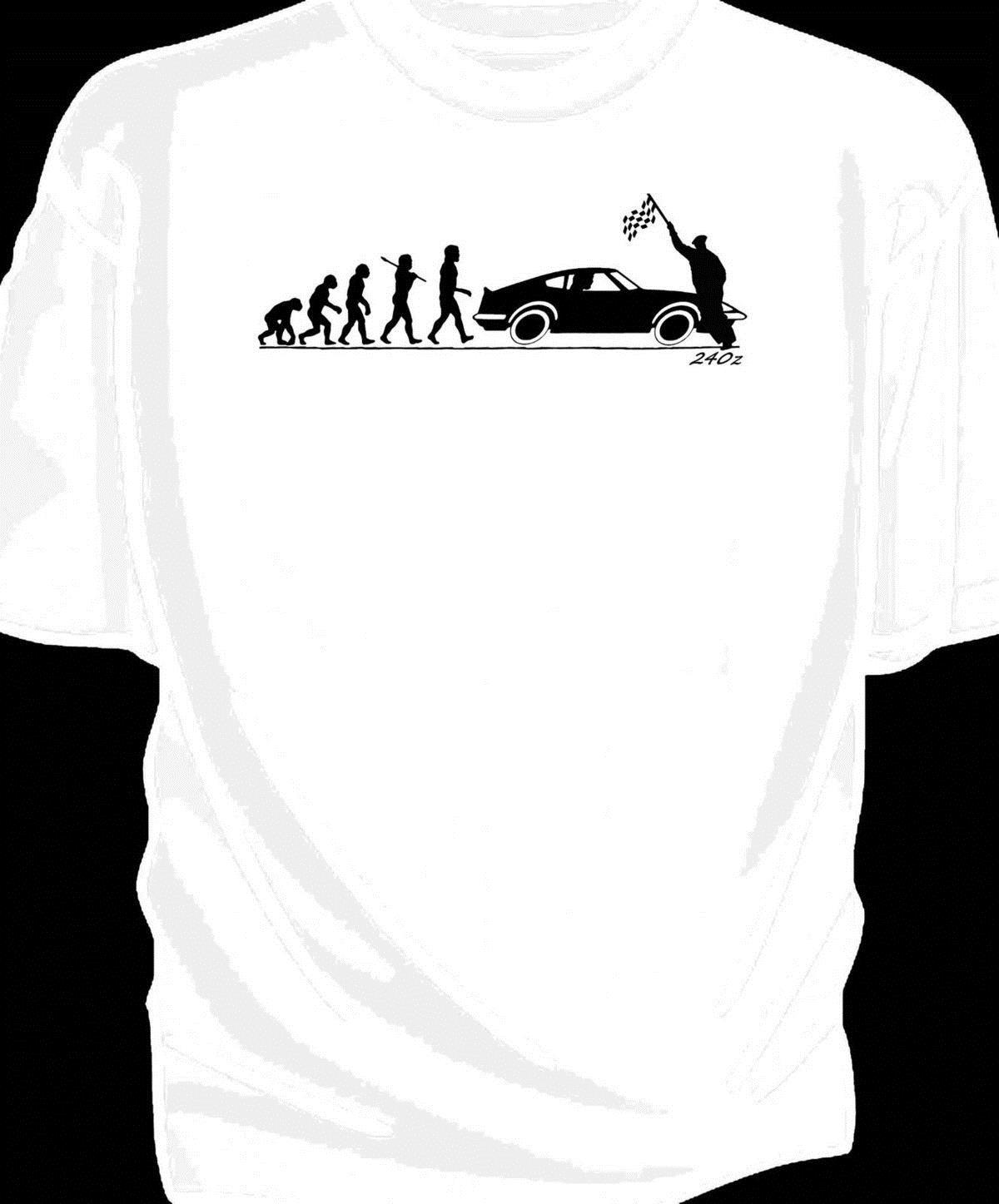 /'Evolution of Man/' Chequered flag t-shirt classic Datsun 260z
