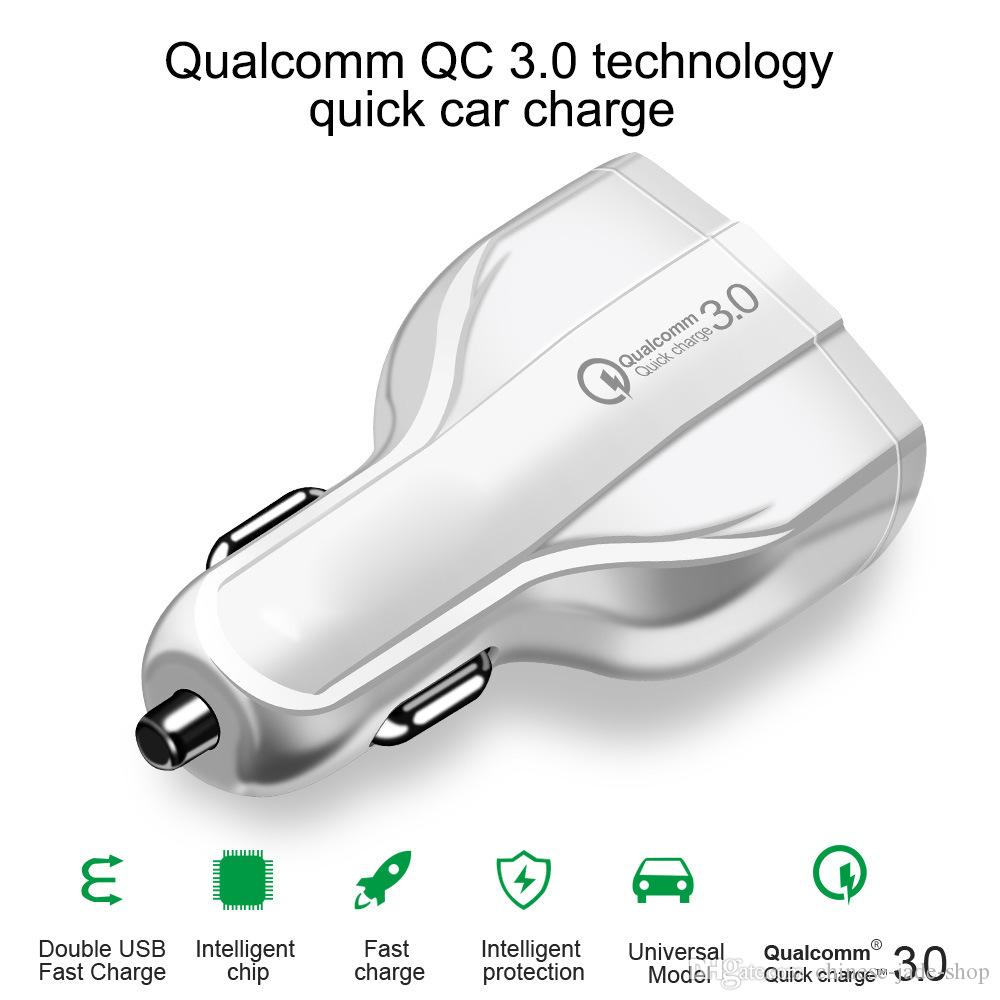 QC 3.0 type C Car charger Fast Charger 9V 1.8A 12V 1.8A 5V 3.5A 3 USB Port USB charger FOR iphone xs max note 9 50pcs/lot