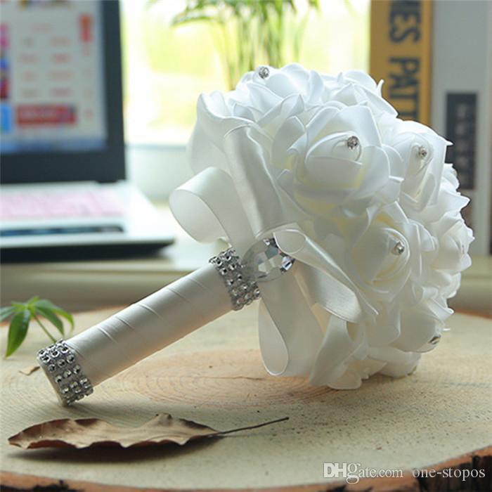 화이트 신부 결혼식 꽃다발 다채로운 결혼식 액세서리 장식 인공 신부 들러리 꽃 진주 구슬 신부 들고 꽃 cpa1580