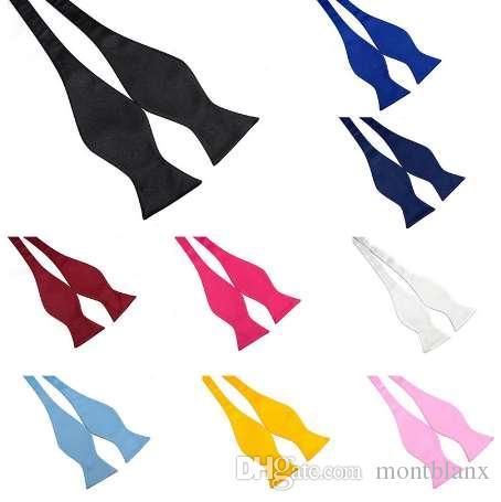 Factory Self Tie Pajaritas Bowtie Multi-colores Seda Sólida Negro Azul Rosa Hombres Butterfly Adjustable Tuxedo Bows para Boda Fiesta