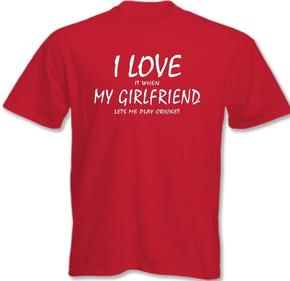 I Love My Girlfriend Cricket Mens Funny T-Shirt