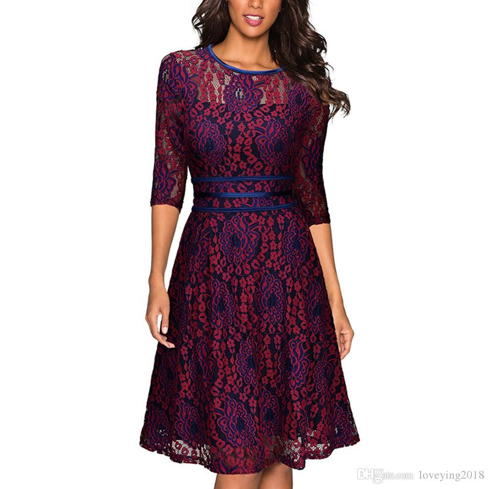 Loveying Womens Elegant Scoop Burgundy Lace Dress Vintage Party Vestidos De Festa Half Sleeves Purple Midi Dress 2018 Velvet Dress Knee Length Dresses From Loveying2018 20 71 Dhgate Com
