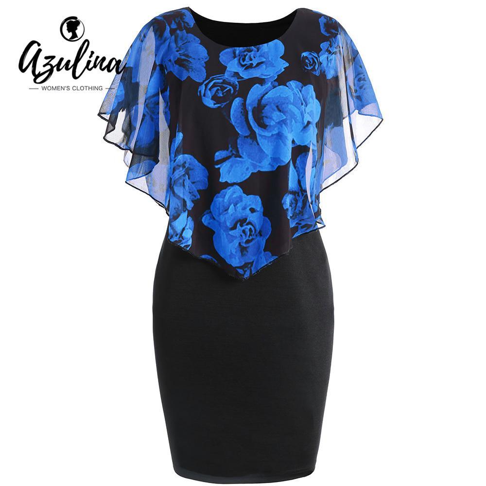 X907 AZULINA Mulheres Vestido Plus Size Rose Valentine Overlay Capelet Vestido Bodycon 2018 Partido Ocasional Vestidos OL Vestidos De Fiesta