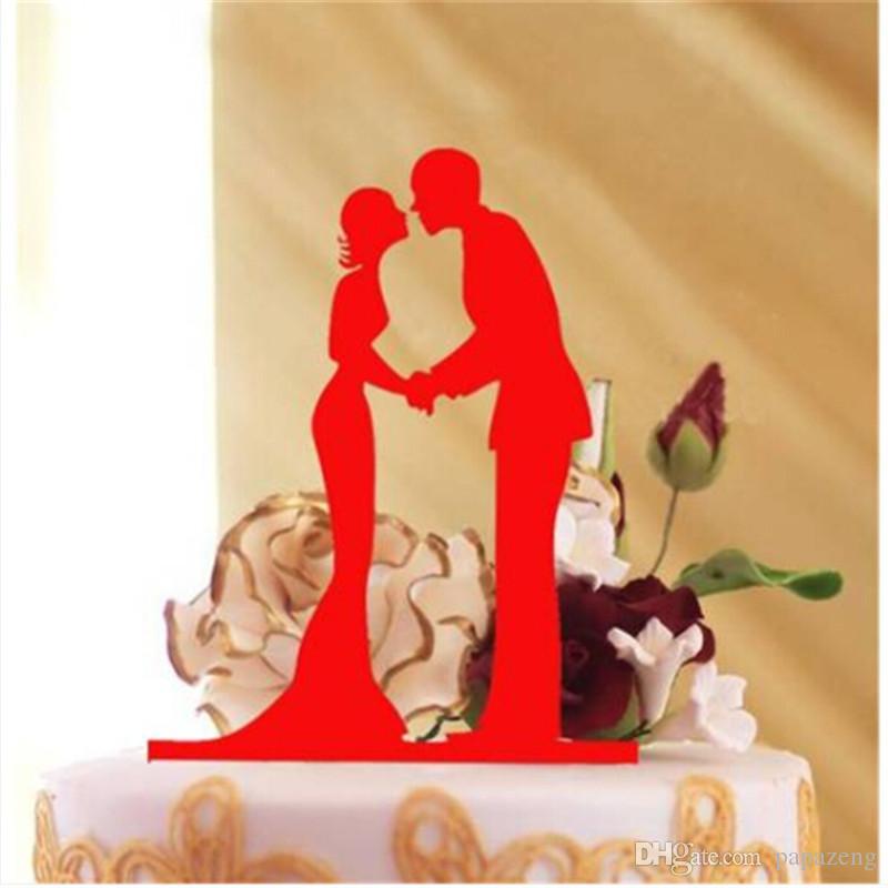 Decoración del Topper de la torta de boda Acrílico Plata Brillo Oro Novia Novio Decoración del partido Fuentes del partido festivo Fuentes del partido