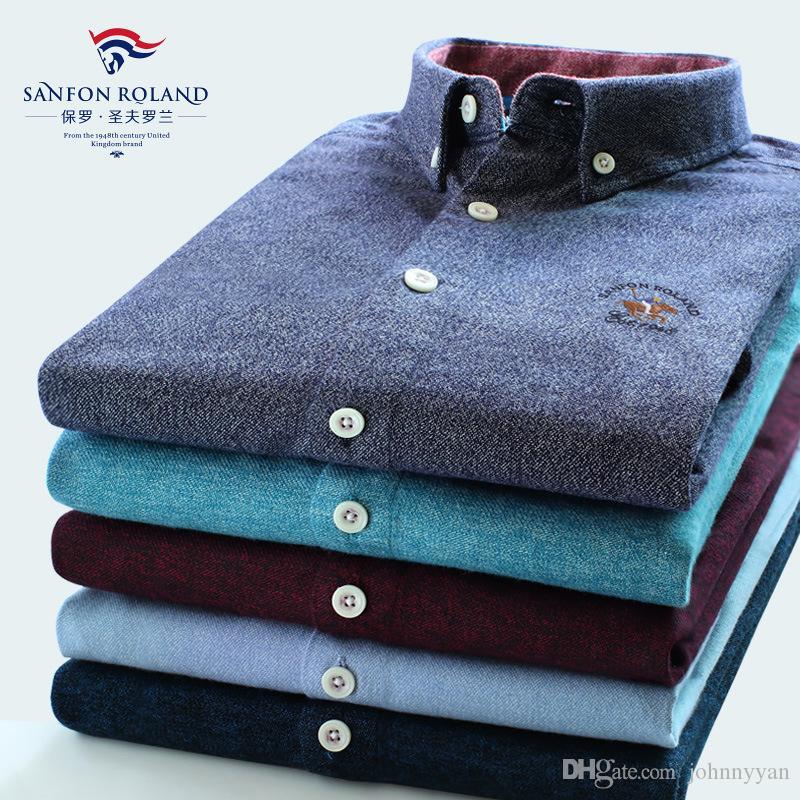 Bahar Yeni Tasarımcılar Marka% 100 Pamuk Kalite Katı Renk Elbise Gömlek Erkekler Bahar İş Casual Gömlek Avrupa Tarzı Elbise Gömlek 179107