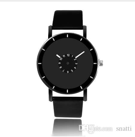 Diseño caliente correa de cuero reloj reloj de cuarzo elegante hombres reloj de las mujeres negro blanco breve relojes unisex relojes analógicos masculinos