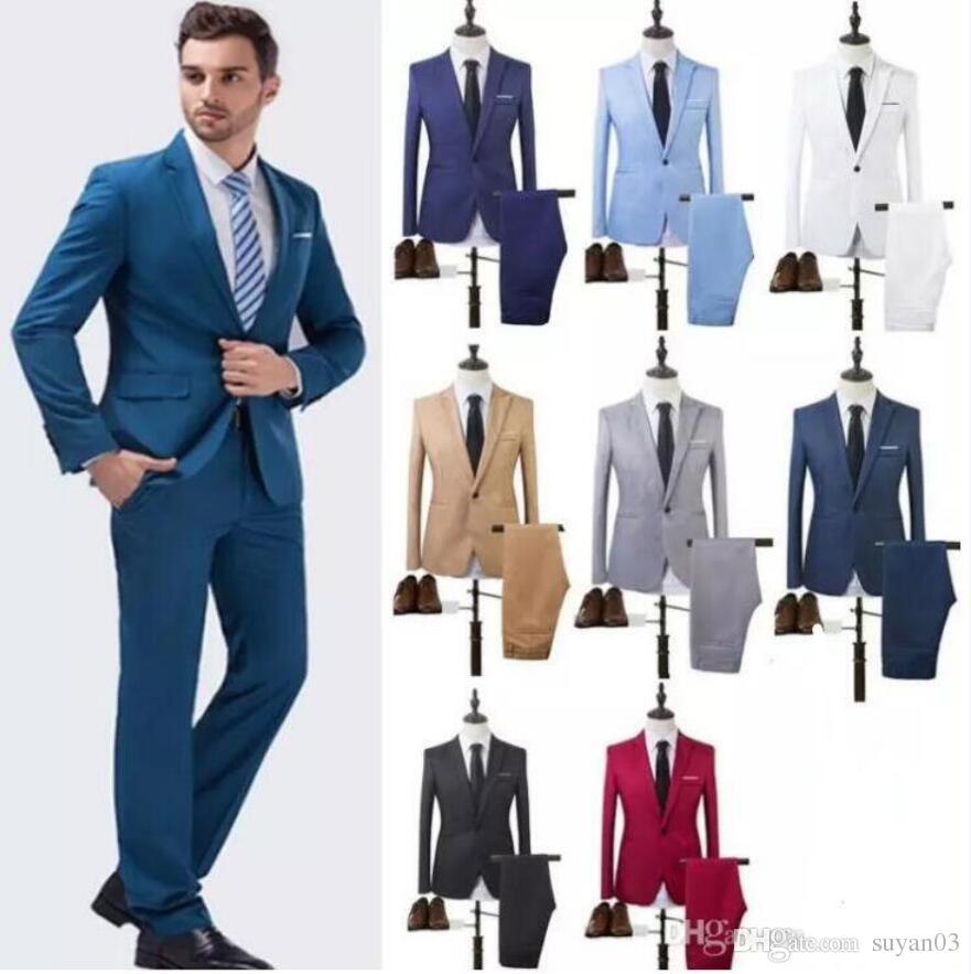 Helisopus Men Formal Wedding Bridegroom Suits Slim Fit One Button Decor Party Dress Fashion Smart Casual Terno Masculino Tuxed Jacket Pant All White Tux Black Tuxedo Dress From Suyan03 20 11 Dhgate Com,Knee Length Wedding Guest Plus Size Formal Dresses