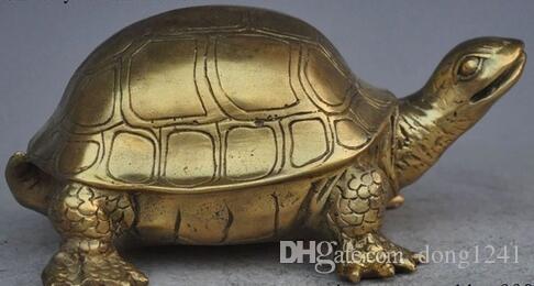 "8"" chinese fengshui brass Longevity animal Turtle Tortoise auspicious statue"