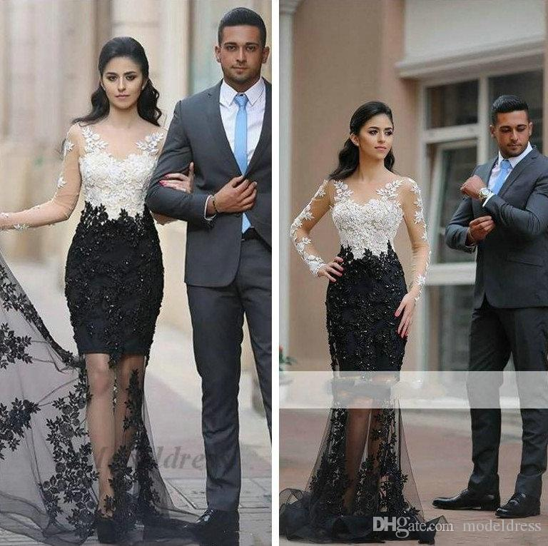 Black and White Evening Dresses Sexy See Through Long Sleeves Tulle Appliques Beading Formal Elegant Prom Dresses for Party Unique Styles