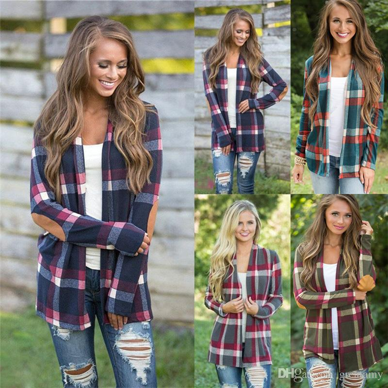 Casual Cardigan Women Plaid Print Kimono Cardigans Knitting Jumpers Poncho Open Front PU Elbow Patchwork Sweater Coat