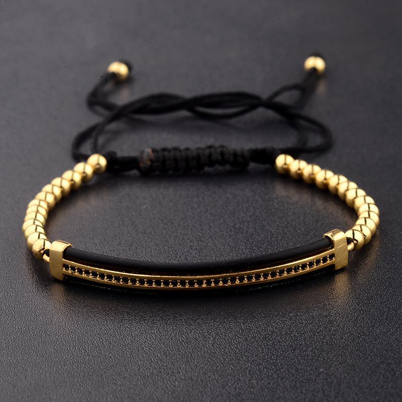 Fashion Luxury CZ Zircon Tubes/&4MM Copper Beads Bracelet Bangle Women Men Gift
