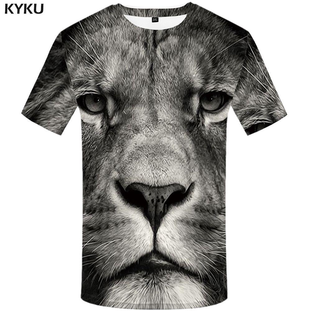 KYKU Lion тенниска животных Мужская одежда Смешные Tshirt Плюс Размер 3d тенниски одежды Мужчины с коротким рукавом Большой высокого качества