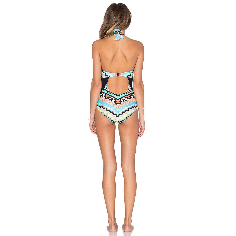 مثير المرأة قطعة واحدة خمر ملابس السباحة النسائية المطبوعة الرسن ملابس عارية الذراعين سليم monokini السيدات المايوه مبطن المايوه