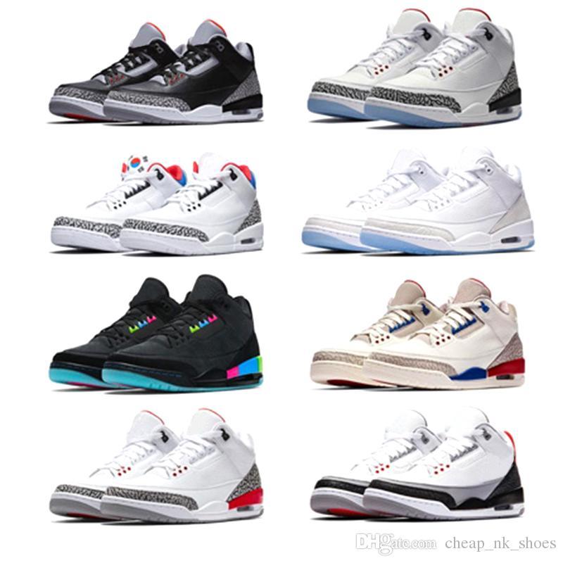 Großhandel Nike Air Jordan Retro 3 Neue Männer Basketballschuhe International Flug Pure White Schwarz Zement Korea Tinker JTH NRG Katrina Freiwurf