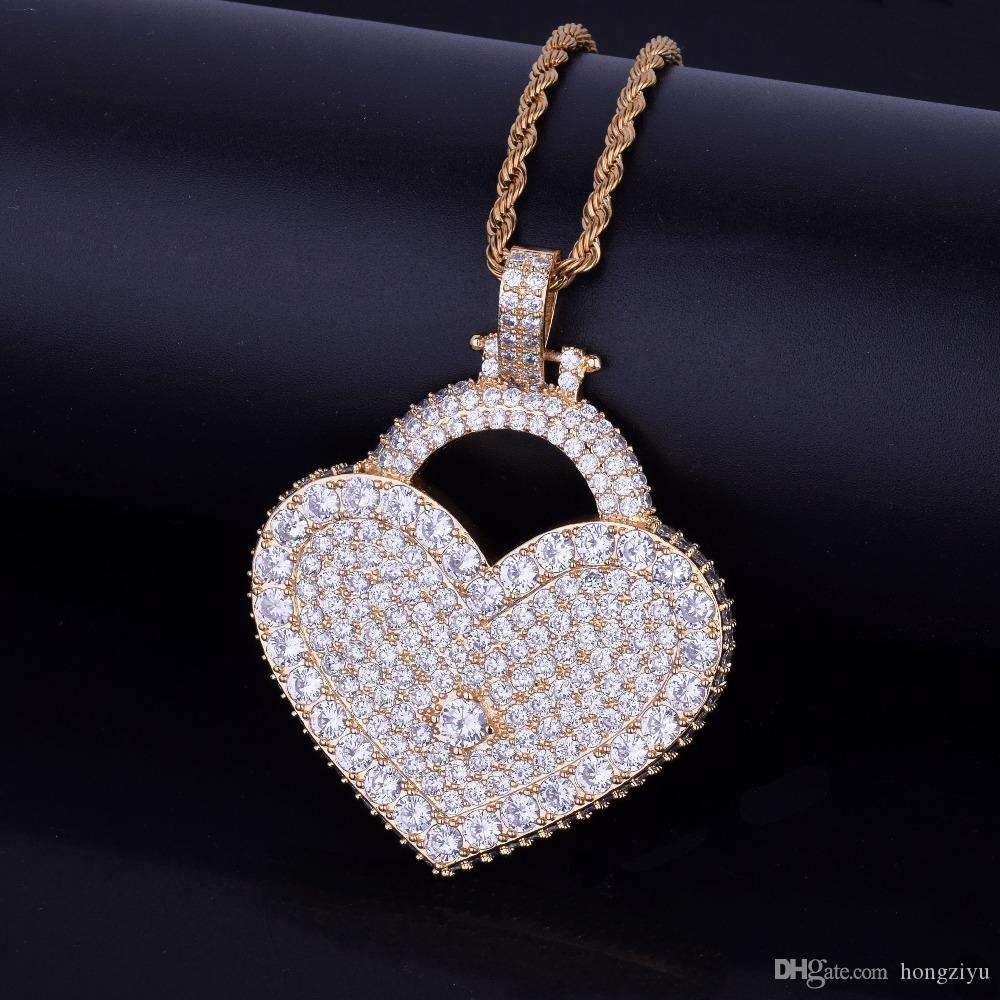 Hot Seller Men Women Hip hop Jewelry Heart Love Lock Necklace & Pendant Bling Cubic Zircon With Rope Chain Gold Color For Gift