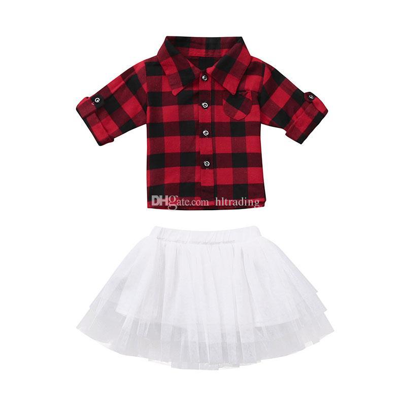 Noël bébé filles tenues infantile rouge noir Plaid top + jupes de dentelle de Tutu 2pcs / set fashion Autumn Xmas enfants vêtements ensembles C5377