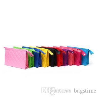 도매 핑키 컬러 솔리드 화장품 가방 휴대용 다이아몬드 격자 지퍼 저장 가방 한국어 스타일 여성 메이크업 가방 무료 배송