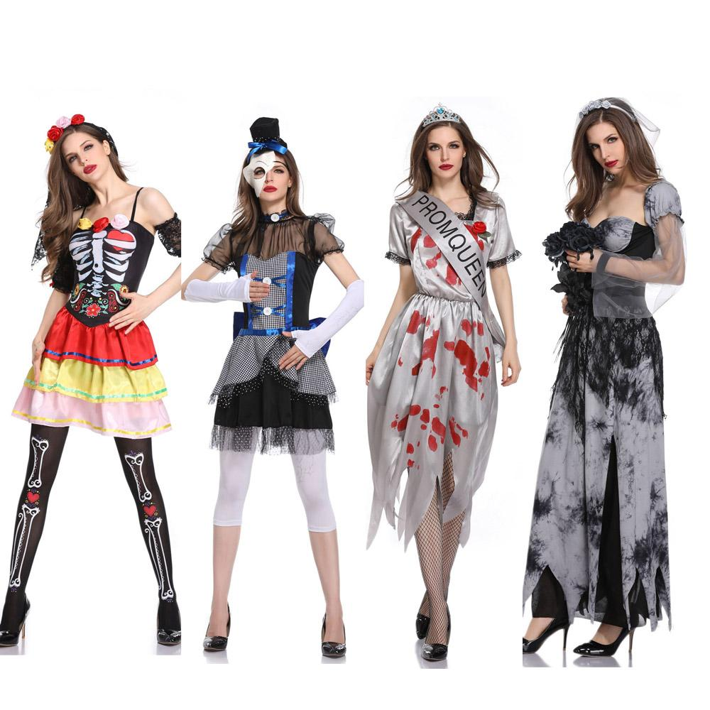 Funny Halloween Costumes Horror Cos Bloody Skull Zombie Costume Vampire  Ghost Bride For Women Halloween Party Cosplay Devil Scary Halloween Costume