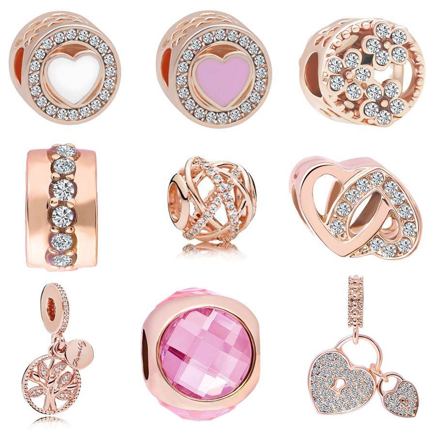 Free Shipping MOQ 20pcs rose gold Love Heart Lock Tree Hanging Bead Charms fit Original Pandora Bracelet Jewelry DIY J023