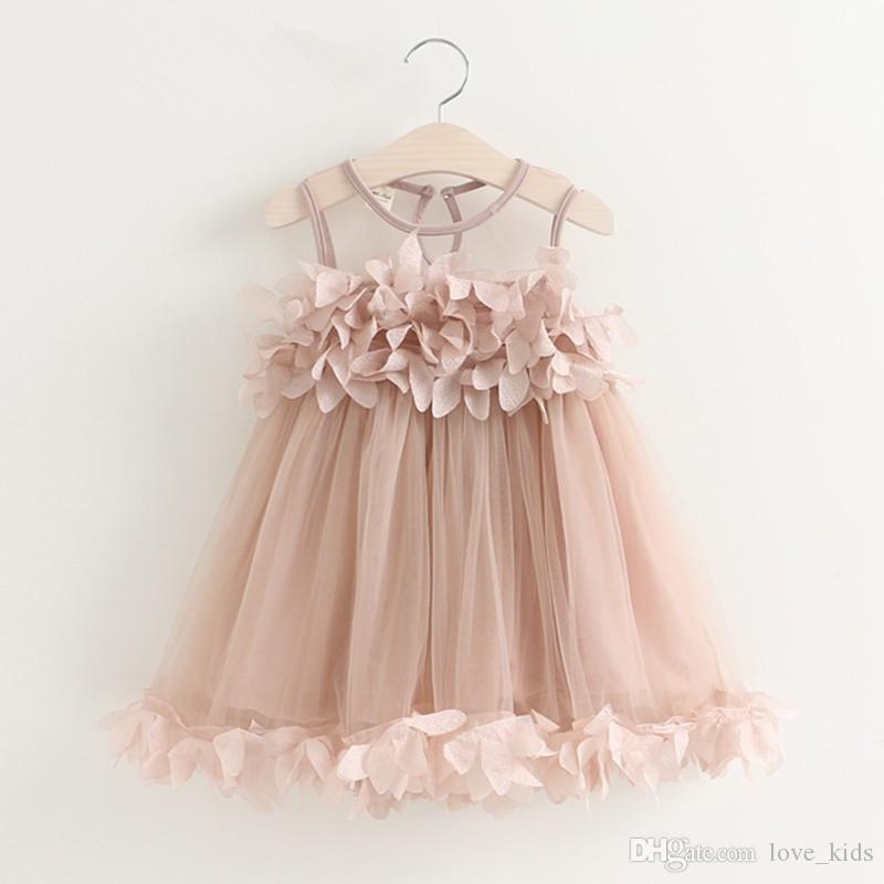 kids flower dress children summer tank tutu skirts baby girls beach clothes white and pink color boutiques clothing