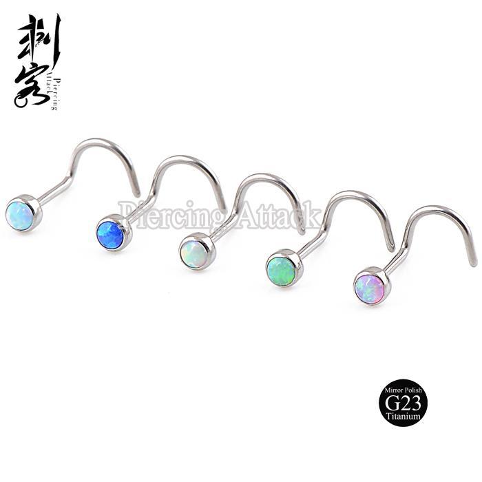 Opal Vücut Takı G23 Titanyum Burun Yüzük Ücretsiz Kargo