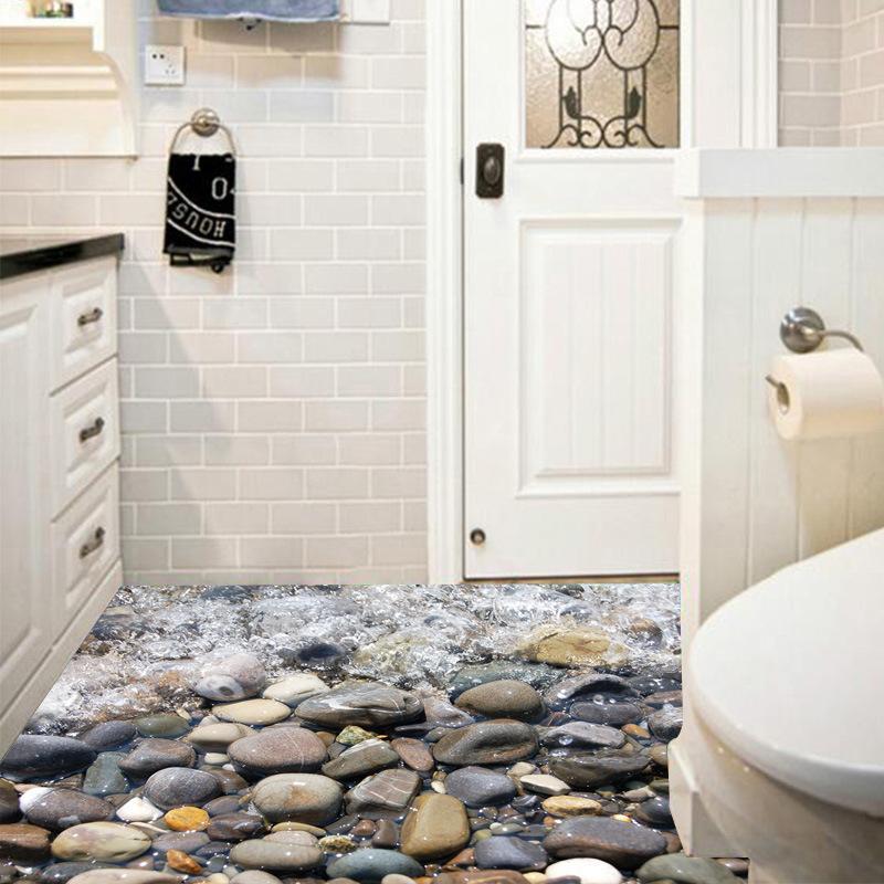 Creative River Stone Wall Sticker 3d Cobble Waterproof Bathroom Kitchen Floor Decor Stickers diy Unique Home
