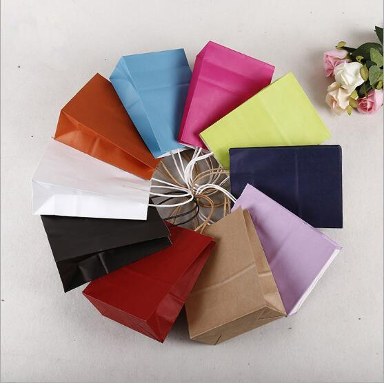 """8 """"x 4.75"""" x 10 """"Kahverengi Kraft Kağıt Torbalar Alışveriş çantası 125 adet kullanarak alışveriş mağazası için Kraft Kağıt Ambalaj Poşetleri"""