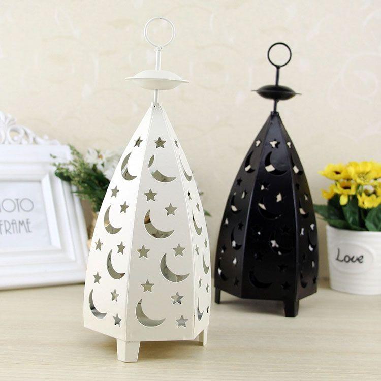 1pc stile europeo luna natale hollow holder tealight ferro candeliere appeso lanterna stella romantica decorazione della festa nuziale