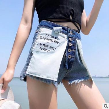 2018 летние женские шорты новое письмо карман джинсовые шорты высокой талией однобортный джинсы широкие брюки модельер обе стороны носить